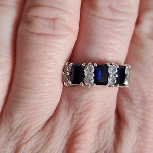 Vintage 925 Silver CZ and blue stone ring